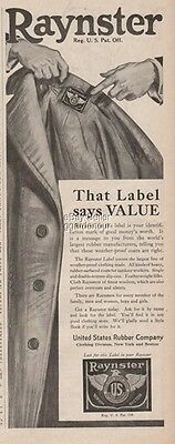 1918 Raynster Label United States Rubber Fashion Division Vintage Print Ad