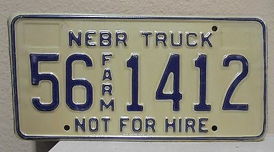 1990'S Nebraska FARM truck license plate tag - NOT FOR HIRE - 56 1412