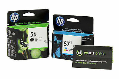 HP 56 57 Black & Tri-Color Ink Cartridge Combo C6656AN C6657AN Genuine New