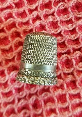 Antique Waite Thresher Sterling Silver Chased Scrolls Thimble Sz. 6