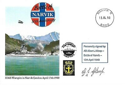 Battle Of Narvik Signed By Ab Albert J Alsop. 8/50.