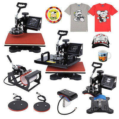"5 in 1  Transfer Sublimation 15""x12"" Heat Press Machine T-Shirt Mug Hat Plate"