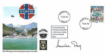 Battle Of Narvik Signed By Cpo Maurice Day Dsm. 2/50.
