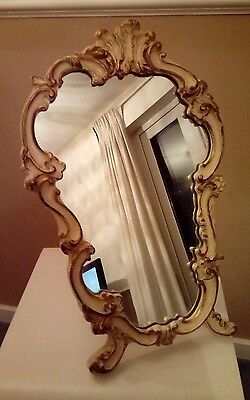Large Vintage Rococo Cream and Gold Leaf Freestanding Mirror