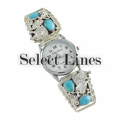 Sterling Silver Turquoise Wolf Mens Watch Navajo Native American Jewelry