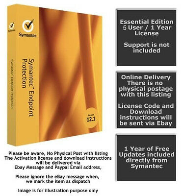 Symantec Endpoint Protection 12.1 / 5 User - Essential Edition(Online Delivery)