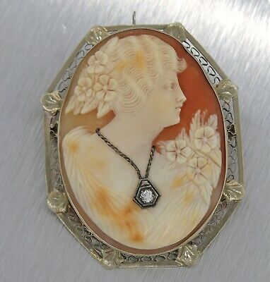 Antique Victorian 14K Gold Filigree Hand-Carved Shell Cameo Brooch Pin Pendant