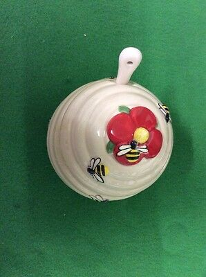 Honey Pot With Spoon Bees On