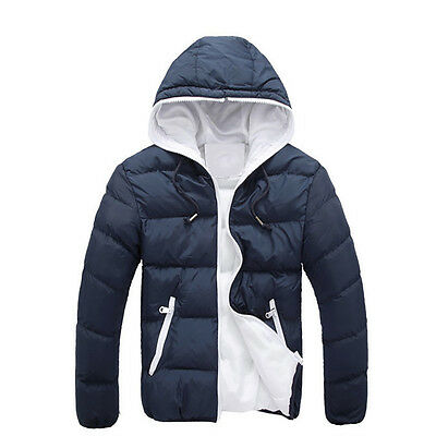 Men Casual Warm Jacket Hooded Winter Thick Coat Parka Overcoat Hoodie Navy M B2