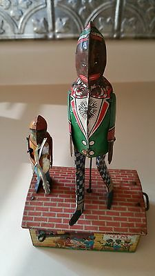 """Antique 1921 Jazzbo~Jim """"The Dancer On the Roof"""" Tin Wind-up Toy"""