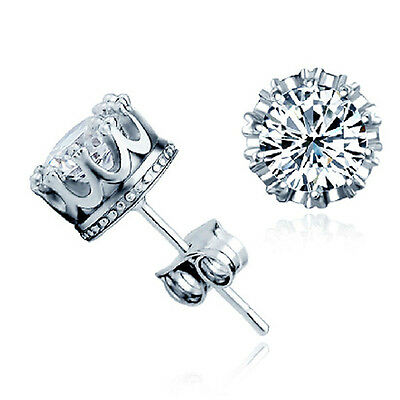 Women Fashion Chic Silver Brilliant Cut Clear CZ Crystal Stud Crown Earrings
