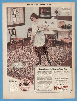 1923 Congoleum Gold Seal RUG Flooring Housewife mopping kitchen floor Ad