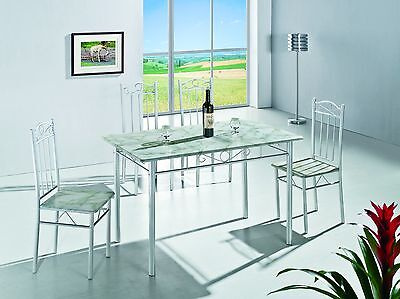 5 Piece Dining Set Marble Pattern Top Dining Table and 4 Chairs