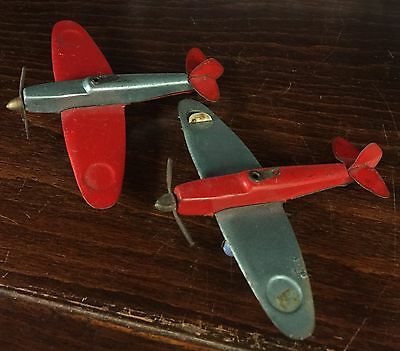 2 Small Tin Plate Toy Spitfire Planes Airplanes Aeroplanes 7cm 8cm Ish