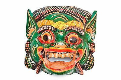 Hand carved Painted Balinese Green Barong Mask wallhanging