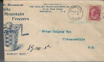 1898 White Mountain Freezers ad cover with Montreal Flag cancel