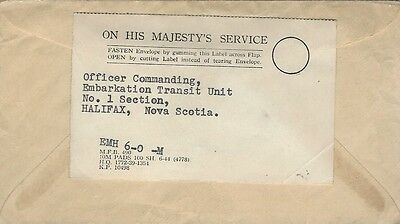 WW2 OHMS cover addressed to Embarkation Transit Unit Commanding Officer Halifax