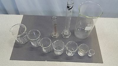 Lot of 10! Pyrex Lab Beakers No. 1000, 1060, Hydrometer Cylinder