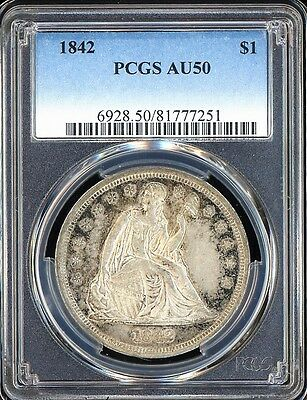 1842 LIBERTY SEATED DOLLAR, PCGS AU-50 Nice Lustre Behind Perimeter Toning