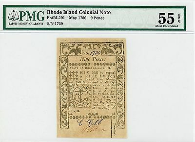 1786 Rhode Island Nine Pence Colonial Currency (Fr#: RI-291) EPQ 55 AU