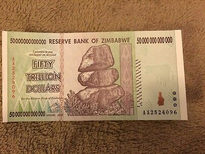 Uncirculated 50 Trillion Zimbabwe Bank note