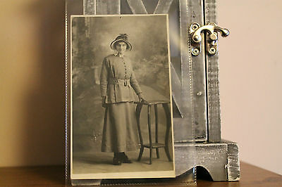 Real People Photograph/Postcard (Black & White Photo Lady Standing