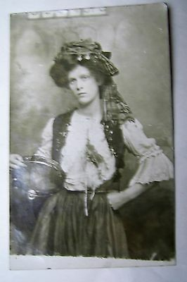 Old Photographic Postcard Gipsy Woman With Tambourine