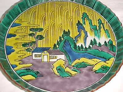 "Signed 10 1/4"" Japanese Ko-Kutani Revival Porcelain Plate Green Yellow Landscape"
