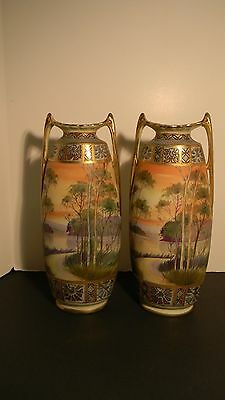 Pair of Nippon Vases 12 1/4 jnches high