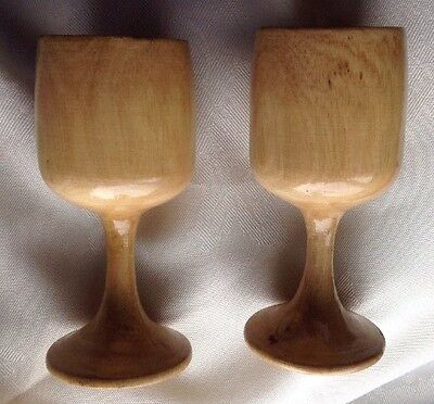 Pair Wooden Goblets, Wood Turning, Hand Made In Australia From Apple Gum Wood
