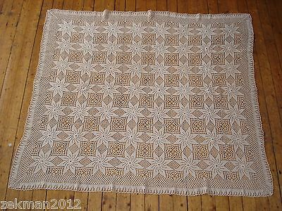 Old Vintage  Knitted Lace Tablecloth