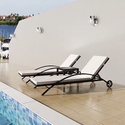 Lounge Rattan Sun Bed Set 2 Loungers Beds Recliner 1 Table Cushions Pool Black