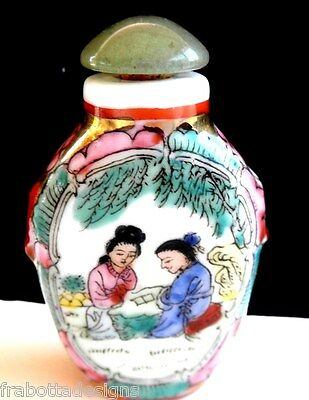 Vintage Hand Painted  Porcelain Asian Snuff Bottle With Jade Top