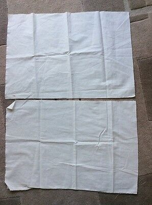 two pieces 48x30cm white Cotton Fabric oddment - sewing textiles embroidery