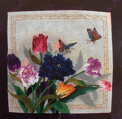 Candamar Needlepoint Kit Tulips & Butterflies by Lucy Wang, Opened, Complete