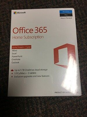 Microsoft Office 365 Home Subscription 5 PC/Mac & 5 Tablets, 1 Year
