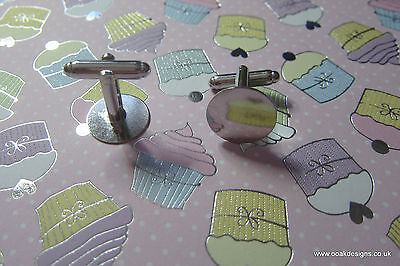 Silver Toned FLAT ROUND CUFFLINK FINDINGS CUFF LINK BLANK 12 or 15mm Base Pads