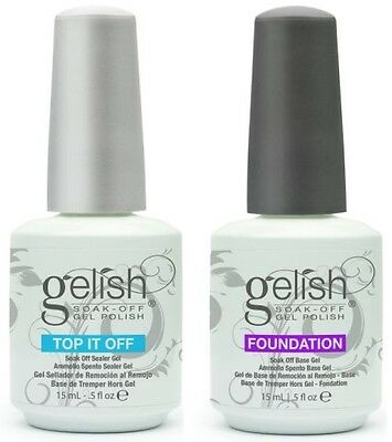 Harmony Gelish Top it Off Top Coat and Foundation Base Coat .5 oz. ea.FREE SHIPP