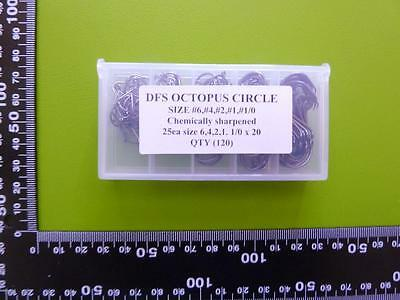 BOXED 120x DFS size #6,#4,#2,#1,1/0 small Octopus CIRCLE Hooks Chemically Sharp