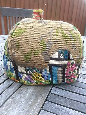 fabulous vintage hand made tapestry tea cosy country cottage