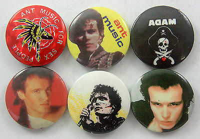 ADAM AND THE ANTS Button Badges 6 x Vintage Adam and the Ants Pin Badges
