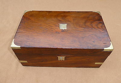 Antique Mahogany Writing Slope With Brass Corners