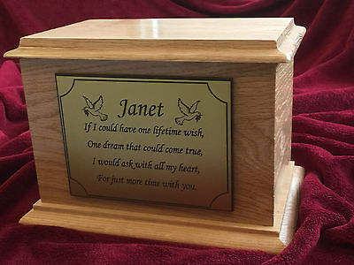 Solid Natural Oak Wood Funeral Cremation Ashes Urn Casket & Personalised Plaque
