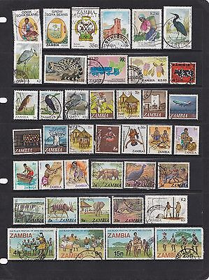 Zambia stamps on 2 scans, used, cards not included.
