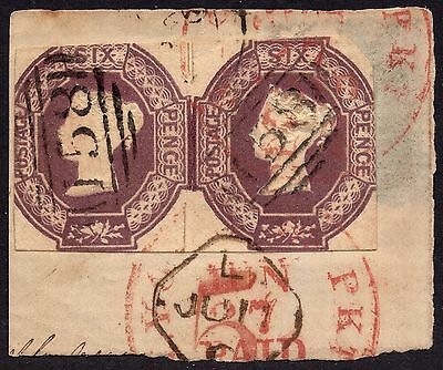 GB QV 1847 2x 6d Purple SG60 Embossed Issue Good Used on Piece