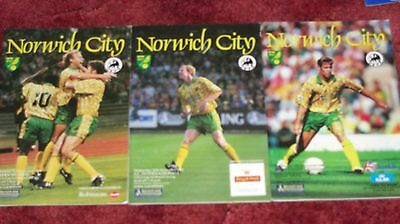 3 x 1993/94 NORWICH CITY UEFA CUP HOMES