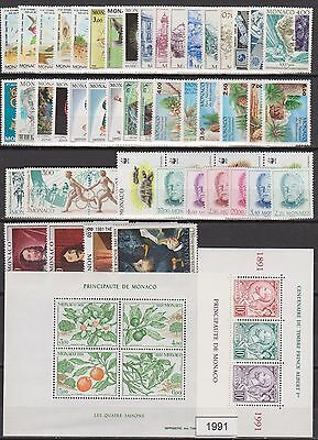 MONACO ANNEE COMPLETE 1991 timbres neufs xx Cote 143 €