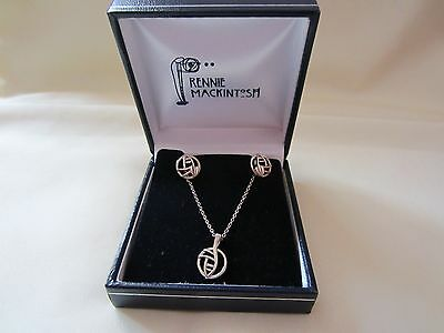 Rennie Mackintosh Necklace & Earrings boxed set. 925 Silver