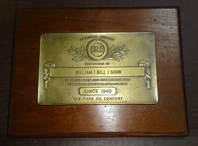 VINTAGE 1950s BRONZE PURE OIL SERVICE GAS STATION SIGN AWARD PLAQUE BILL SHAW