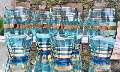 Set 6 1950s Azure Gold Retro Tumblers Vintage Glasses Perfect Glass Mid Century
